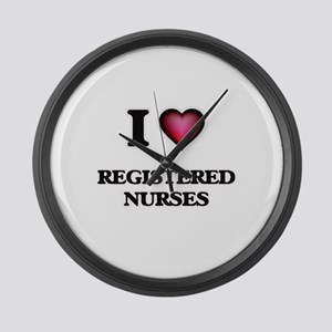 I Love Registered Nurses Large Wall Clock