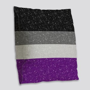 Glitter Asexual Pride Flag Burlap Throw Pillow