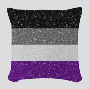 Glitter Asexual Pride Flag Woven Throw Pillow