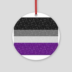 Glitter Asexual Pride Flag Round Ornament