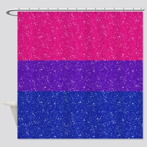 Glitter Bisexual Pride Flag Shower Curtain