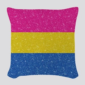 Glitter Pansexual Pride Flag Woven Throw Pillow