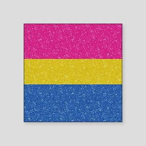 """Glitter Pansexual Pride Fla Square Sticker 3"""" x 3"""""""