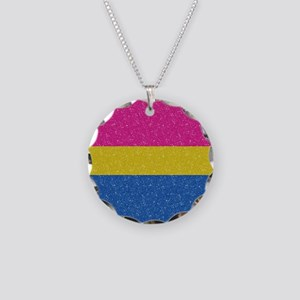 Glitter Pansexual Pride Flag Necklace Circle Charm