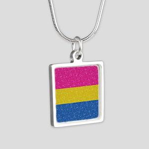 Glitter Pansexual Pride Fl Silver Square Necklace