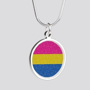 Glitter Pansexual Pride Flag Silver Round Necklace