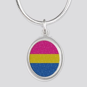 Glitter Pansexual Pride Flag Silver Oval Necklace