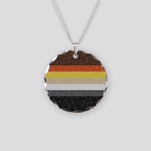 Glitter Bear Pride Flag Necklace Circle Charm