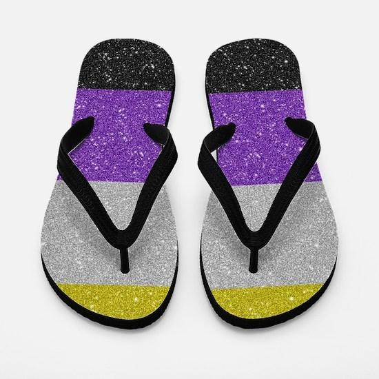 Glitter Non-Binary Pride Flag Flip Flops