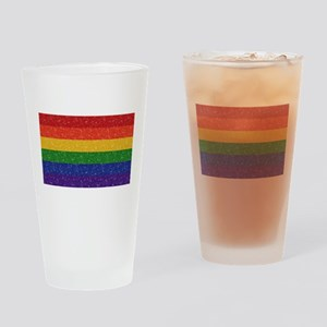 Glitter Rainbow Pride Flag Drinking Glass