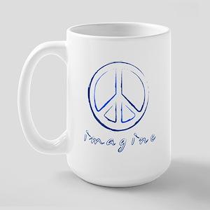 Imagine - Peace Symbol - Blue Large Mug