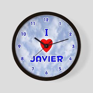I Love Javier (Blue) Valentine Wall Clock