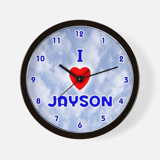 I Love Jayson (Blue) Valentine Wall Clock