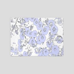 Blue Petunias 5'x7'Area Rug