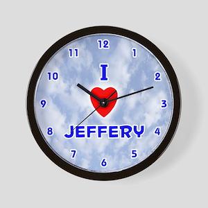 I Love Jeffery (Blue) Valentine Wall Clock