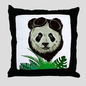 Hipster Panda Throw Pillow