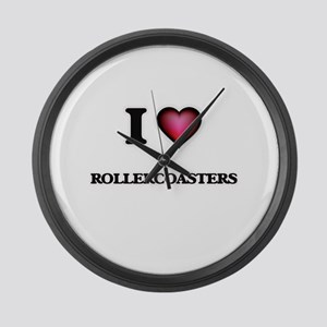 I Love Rollercoasters Large Wall Clock