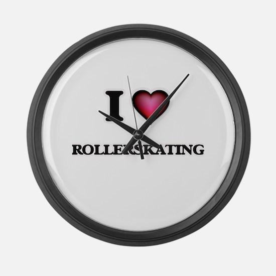 I Love Rollerskating Large Wall Clock