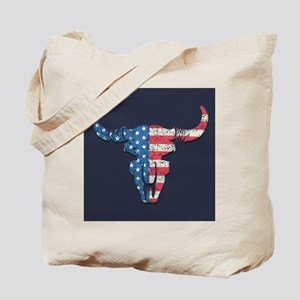 American Flag Buffalo Skull Tote Bag