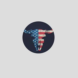 American Flag Buffalo Skull Mini Button