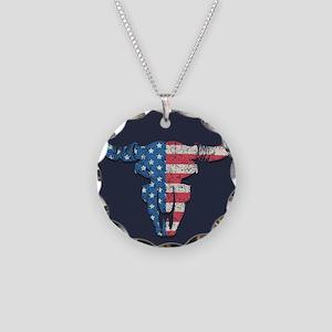 American Flag Buffalo Skull Necklace Circle Charm