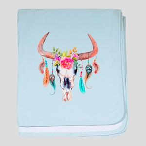 Buffalo Skull baby blanket