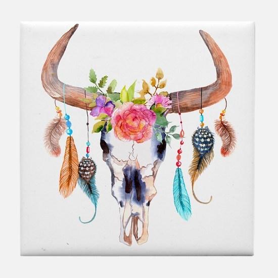 Buffalo Skull Tile Coaster