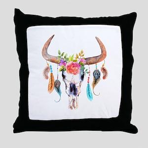 Buffalo Skull Throw Pillow
