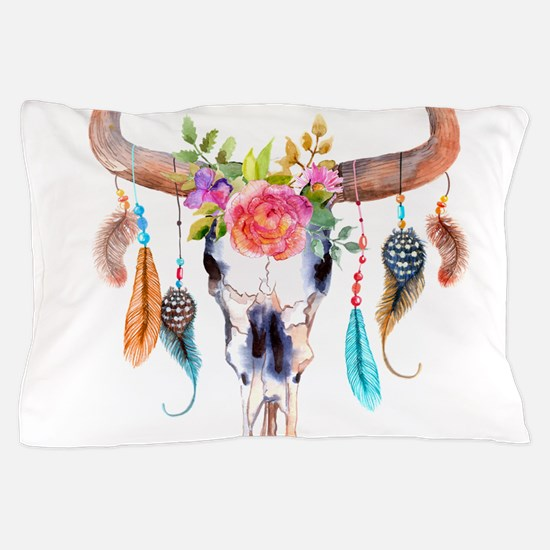 Buffalo Skull Pillow Case