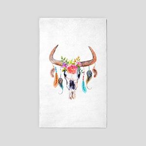 Buffalo Skull Area Rug