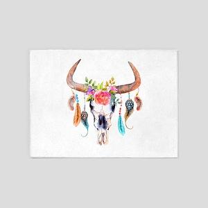 Buffalo Skull 5'x7'Area Rug