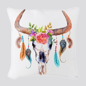 Buffalo Skull Woven Throw Pillow