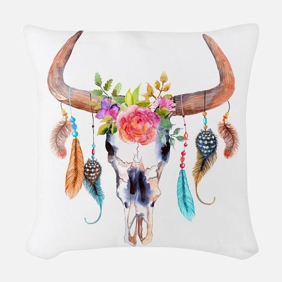 Buffalo Skull Woven Throw Pillow