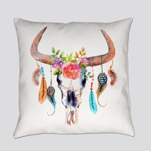 Buffalo Skull Everyday Pillow