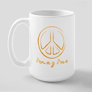 Imagine - Peace Symbol - Orange Large Mug