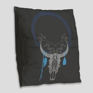 Buffalo Skull Burlap Throw Pillow