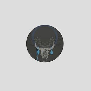Buffalo Skull Mini Button