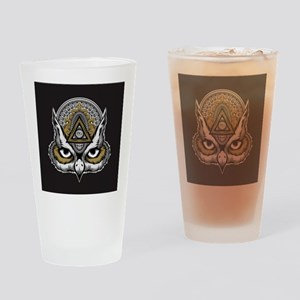 Owl Art Drinking Glass