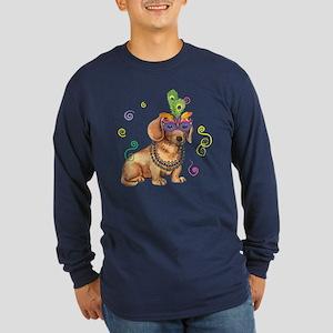 Party Dachshund Long Sleeve Dark T-Shirt