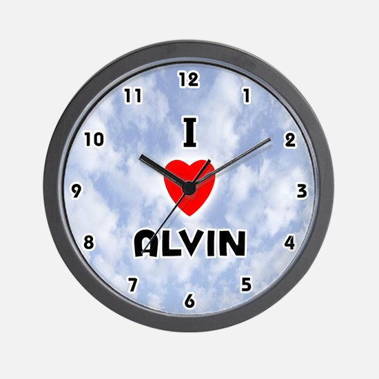 I Love Alvin (Black) Valentine Wall Clock