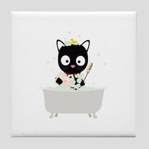 Bathing Cat in a bathtub Tile Coaster