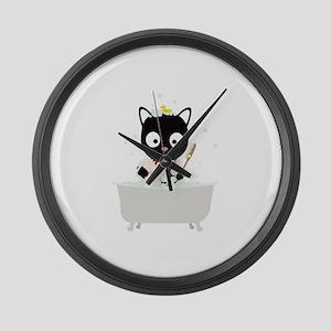 Bathing Cat in a bathtub Large Wall Clock