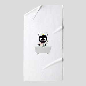 Bathing Cat in a bathtub Beach Towel