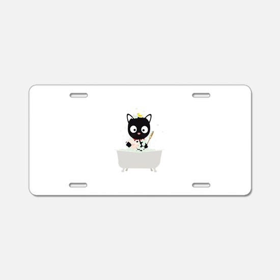 Bathing Cat in a bathtub Aluminum License Plate