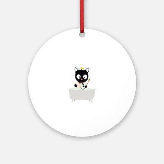 Bathing Cat in a bathtub Round Ornament