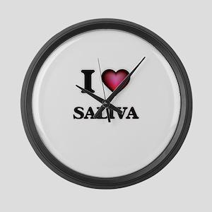 I Love Saliva Large Wall Clock