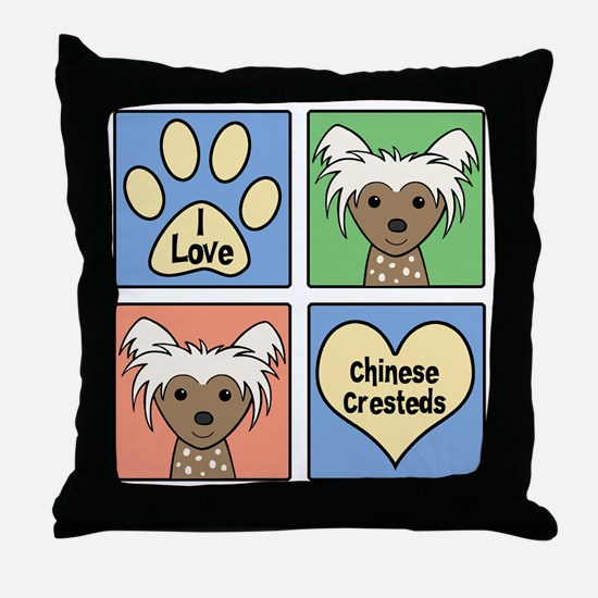 Funny Chinese crested Throw Pillow