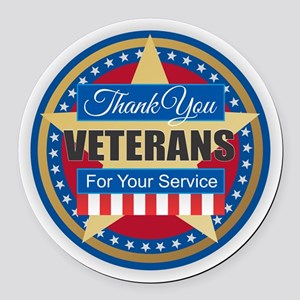 Thank You Veterans Round Car Magnet