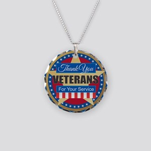 Thank You Veterans Necklace Circle Charm