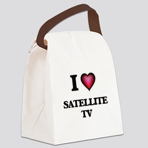 I Love Satellite Tv Canvas Lunch Bag